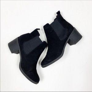H&M Faux Suede Vegan Leather Chelsea Boots Black